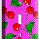 RED HOT CHERRIES PINK POLKA DOTS SINGLE LIGHT SWITCH PLATE DINING KITCHEN DECOR
