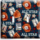 BASEBALL VINTAGE ALL STAR DOUBLE LIGHT SWITCH POWER WALL PLATE COVER ROOM DECOR