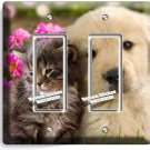 KITTY CAT PUPPY DOG PINK FLOWERS DOUBLE GFCI LIGHT SWITCH WALL PLATE ROOM DECOR