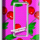 RED HOT CHERRIES PINK POLKA DOTS SINGLE ROCKER LIGHT SWITCH PLATE KITCHEN DECOR
