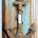 NAUTICAL ANCHOR RUSTIC WOOD LOOK SINGLE LIGHT SWITCH WALL PLATE ROOM HOME DECOR
