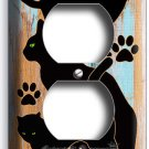 CUTE GREEN EYES BLACK CATS RUSTIC PAINT WOOD OUTLET WALL PLATES ROOM HOME DECOR