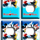 MICKEY MINNIE MOUSE ICE FIGURE SKATING LIGHT SWITCH 3 OUTLET PLATE GIRL BOY ROOM