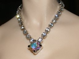 V necklace with AB crystal centerpiece
