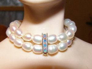 Double Pearl Strand with Swarovski Bar Centerpiece