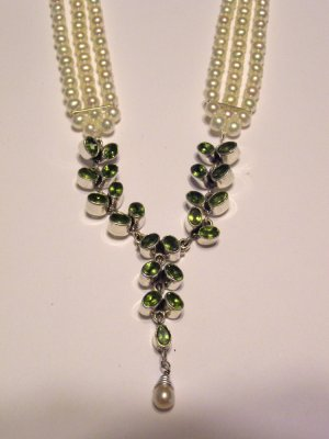 Triple Pearl and Peridot Sterling Necklace