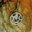 Silver Pendant gold plated with Blue Topaz white Topaz red garnet and Citrin with Silver chain