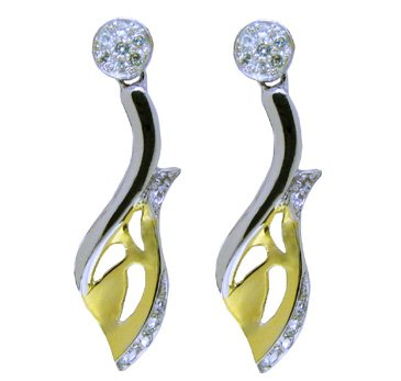 silver earring 18k gold plated with natural white Topaz