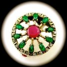 Rare Vintage Round Ruby Emerald Gem Solid 925 Sterling Silver Ring Size 8 Gold