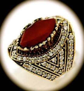 RARE Vintage Estate Ruby/Rubies Gem SOLID 925 STERLING SILVER RING Size 8 Gold