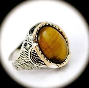 RARE Vintage Estate Tigers Eye Gem SOLID 925 STERLING SILVER RING Size 10 Gold
