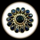 RARE DIAMOND TOPAZ Vintage Sapphire Gem SOLID 925 STERLING SILVER RING Sz 9 Gold