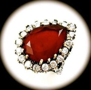 RARE DIAMOND TOPAZ Vintage Ruby Gems SOLID 925 STERLING SILVER RING Size 8 GOLD