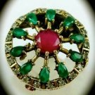 RARE Vintage Estate Ruby Emerald Gems SOLID 925 STERLING SILVER RING Size 7 Gold