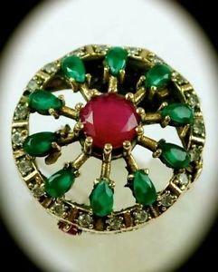 RARE Vintage Estate Ruby Emerald Gems SOLID 925 STERLING SILVER RING Size 7 Gold