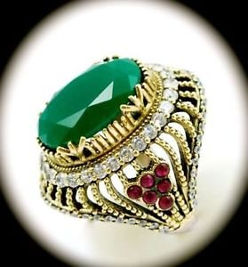 Rare Vintage Oval Emerald Ruby Gems Solid 925 Sterling Silver Ring Size 8 Gold