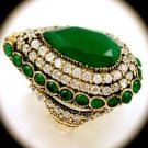 RARE Vintage Estate Pear Emerald Gem SOLID 925 STERLING SILVER RING Size 9 Gold