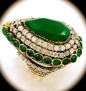 RARE Vintage Estate Pear Emerald Gem SOLID 925 STERLING SILVER RING Size 9 Gold