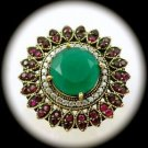 Rare Vintage Round Emerald Ruby Gems Solid 925 Sterling Silver Ring Size 7 Gold