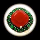 Rare Vintage Royal Ruby Emerald Gems Solid 925 Sterling Silver Ring Size 8 Gold