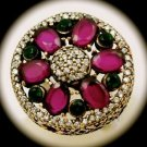 Rare Vintage Royal Ruby Emerald Gems Solid 925 Sterling Silver Ring Size 7 Gold