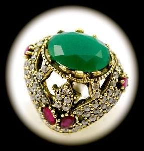 Rare Vintage Ruby Emerald Oval Gems Solid 925 Sterling Silver Ring Size 8 Gold