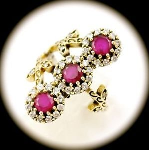 RARE Vintage Estate Ruby/Rubies Gem SOLID 925 STERLING SILVER RING Size 8.5 Gold