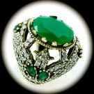 DIAMOND TOPAZ Vintage Estate Emerald Gem SOLID 925 STERLING SILVER RING 8 Gold
