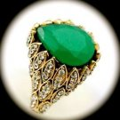 DIAMOND TOPAZ Vintage Estate Emerald Gem SOLID 925 STERLING SILVER RING 11 Gold