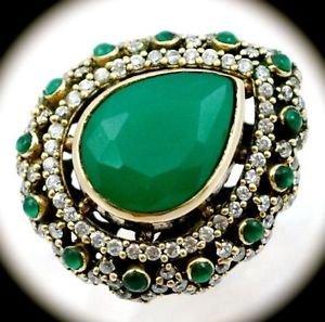 DIAMOND TOPAZ Vintage Emerald Gemstones SOLID 925 STERLING SILVER RING Sz 8 Gold