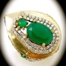 DIAMOND TOPAZ Estate Emerald Gemstone SOLID 925 STERLING SILVER RING Size 8 Gold