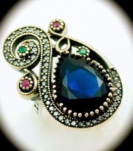 Vintage Emerald Sapphire Ruby Gems SOLID 925 STERLING SILVER RING Size 7.5 Gold