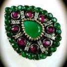 RARE Vintage Estate Ruby Emerald Gemstones SOLID 925 STERLING SILVER RING 9 Gold