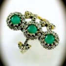 RARE Vintage Estate Emerald Gems/Gemstones SOLID 925 STERLING SILVER RING 8 Gold