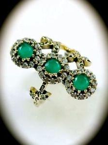 RARE Vintage Estate Emerald Gems/Gemstones SOLID 925 STERLING SILVER RING 8 Gold