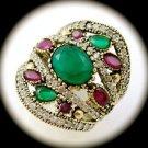 DIAMOND TOPAZ Vintage Ruby Emerald Gems SOLID 925 STERLING SILVER RING Sz 9 Gold