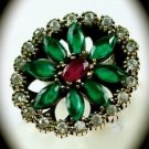 RARE Vintage Estate Ruby Emerald Gems SOLID 925 STERLING SILVER RING Sz 9 Gold