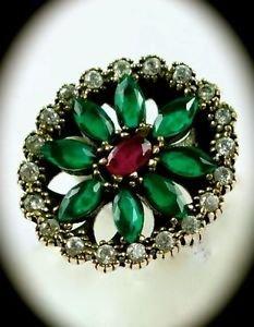 RARE Vintage Estate Ruby Emerald Gems SOLID 925 STERLING SILVER RING Sz 9 Gold