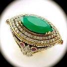 Rare Vintage Marquise Emerald Ruby Gems Solid 925 Sterling Silver Ring Sz 7 Gold