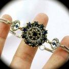 DIAMOND TOPAZ Vintage SAPPHIRE Gemstones SOLID 925 STERLING SILVER BRACELET Gold