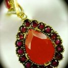 DIAMOND TOPAZ Vintage Ruby Gem SOLID 925 STERLING SILVER NECKLACE PENDANT Gold