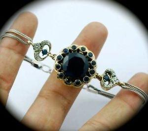 DIAMOND TOPAZ Vintage Estate Sapphire SOLID 925 STERLING SILVER BRACELET Gold