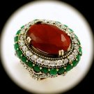 RARE Vintage Estate Emerald Ruby Gemstone SOLID 925 STERLING SILVER RING 8 Gold