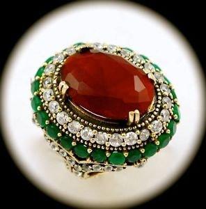 RARE Vintage Estate Emerald Ruby Gemstone SOLID 925 STERLING SILVER RING 8 Gold