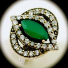 DIAMOND TOPAZ Estate Emerald Gemstones SOLID 925 STERLING SILVER RING Sz 9 Gold