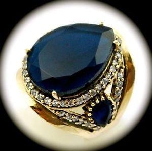 DIAMOND TOPAZ Estate Sapphire Gemstones SOLID 925 STERLING SILVER RING Sz 8 Gold