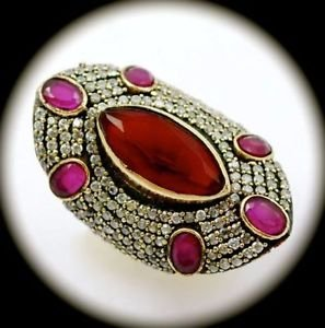 RARE Vintage Estate Ruby/Rubies Gems SOLID 925 STERLING SILVER RING Sz 9.5 Gold