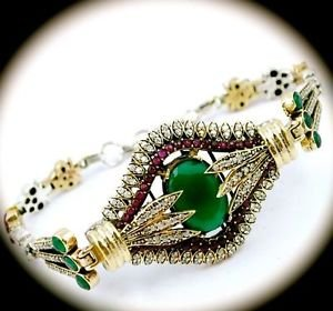 DIAMOND TOPAZ Vintage RUBY EMERALD Gems SOLID 925 STERLING SILVER BRACELET Gold
