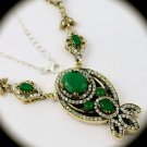 DIAMOND TOPAZ Vintage Emerald Gemstones SOLID 925 STERLING SILVER NECKLACE Gold