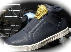 MEN Navy Medusa High Top Hip Hop Casual Shoes/Boots/Sneakers Runway Fashion 10.5